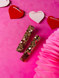 Rose gold heart clips VDAY collection.