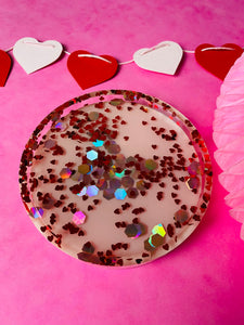 Heart confetti trinket tray VDAY collection.