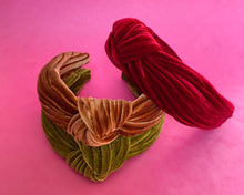Load image into Gallery viewer, Pleated velvet headbands in magenta, forest and toffee.