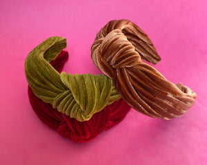 Pleated velvet headbands in magenta, forest and toffee.