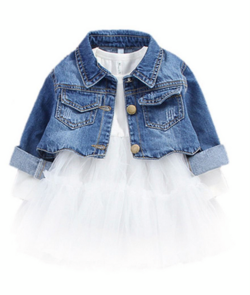 2 piece toddler demi jacket and solid color dress