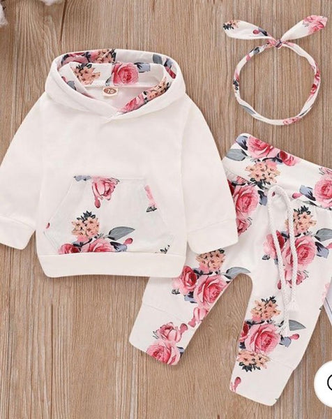 3-piece Floral Hoodie & pants with headband