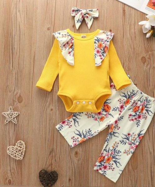 3-piece Floral Printed Bodysuit & pants with headband