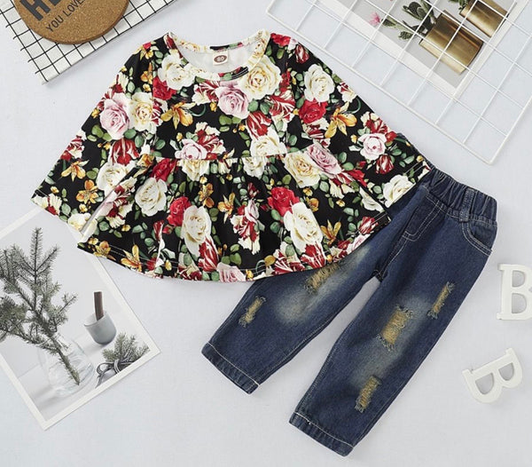 2 piece set foral tunic top with ripped jeans (available 10/27/20)