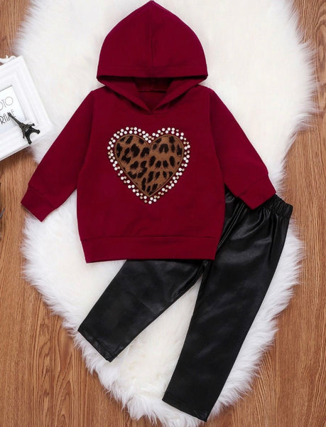 2 Pcs Toddler Girl Love Heart Leopard Set Hoodie Top Matching PU Pants (Available 10/27/2020)