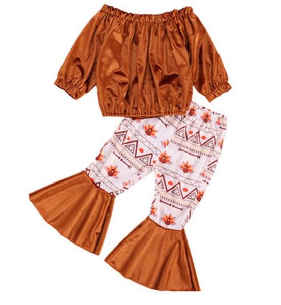 2 Pieces Kid Girl Set Off Shoulder Top Matching Flared Trousers Color brown (Available 10/27/2020)
