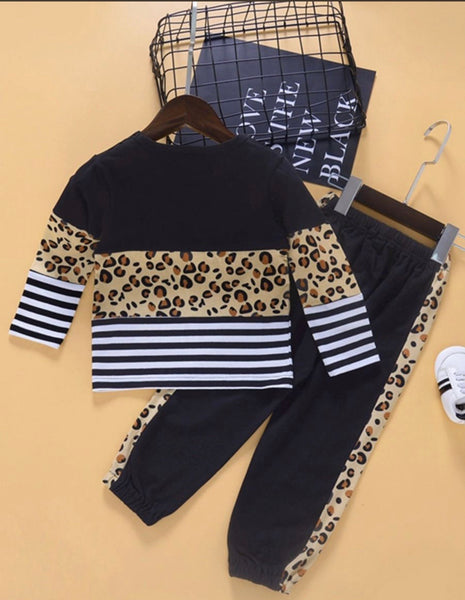 2 Pieces Infant Toddler Girl Leopard Stripe Color Blocking Set Top And Trousers (Available 10/27/2020)