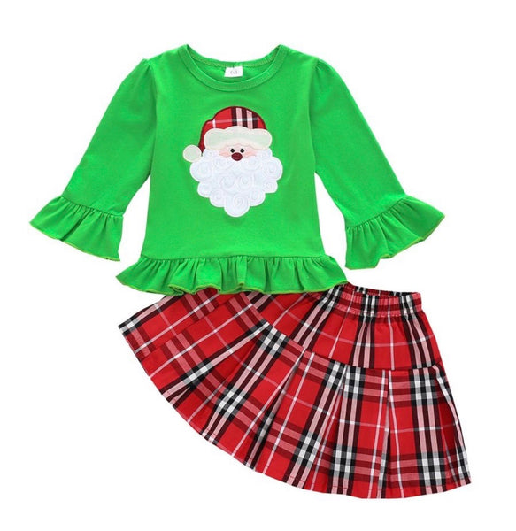 2 Pieces Kid Girl Christmas Set Santa Flared Sleeve Green Top With Plaid Skirt (available 10/27/2020)