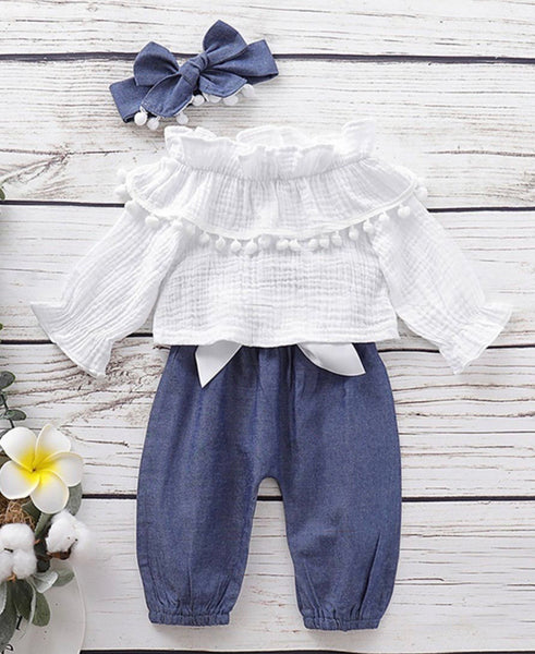 3 Pieces Baby Girl Pom Pom White Top & Bowknot Pants & Headband (Available 10/27/2020)
