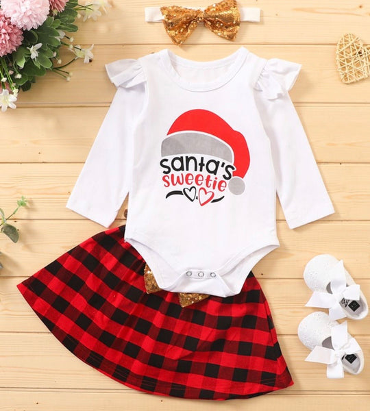 3 Pieces Baby Girl Santa's Sweetie Outfit Bodysuit & Sequins Bow Plaid Skirt & Headband (Available 10/27/2020)