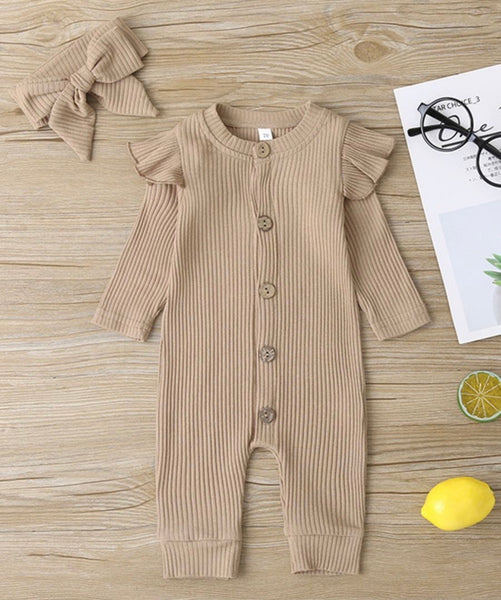 2 Pieces Baby Girl Ribbed Button Front Jumpsuit With Headband (Available 10/27/2020