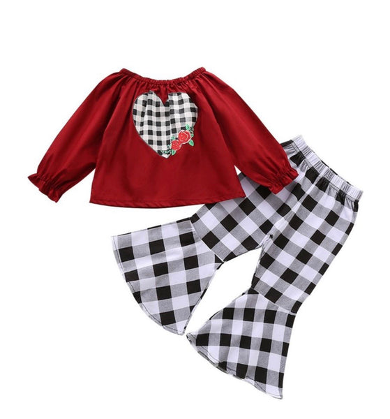 2 Pieces Kid Girl Checked Set Off Shoulder Love Heart Top With Flared Trousers (Available 10/20/2020)