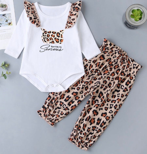 2 Piece Baby Girl Leopard Set Letter Bodysuit And Trousers (Available 10/27/2020)