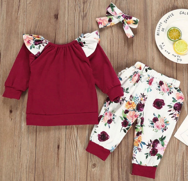 3 Pieces Baby Girl Set Long Sleeve Top & Floral Print Pants & Headband Wholesale (Available 10/27/2020