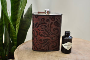 Brown Stamped Leather 12oz Flask