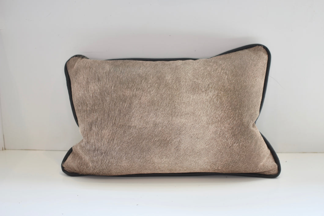 Grey Hair on Hide Pillow