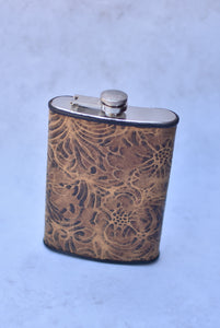 Brown Rose Stamped 12oz Flask