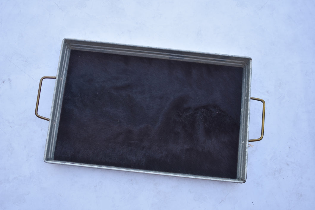 Black Hair on Hide Tray