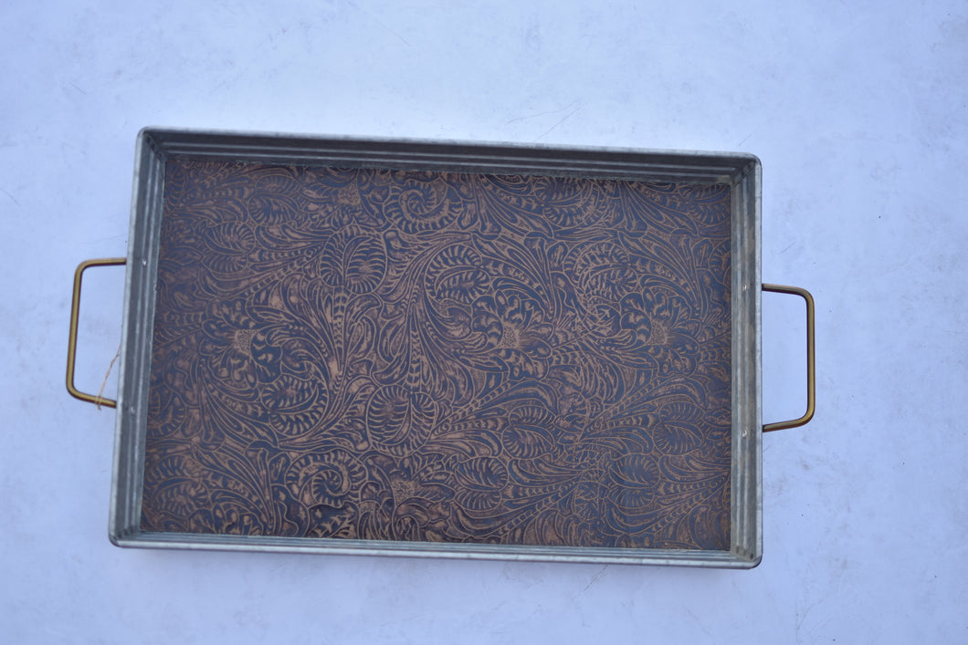Brown Stamped Leather Tray