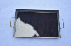Brown and White Hair on Hide Tray
