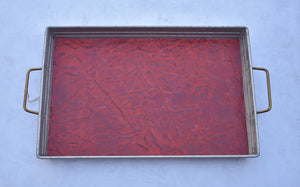 Red Stamped Leather Tray