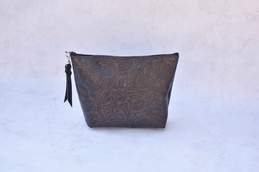 Brown Leather Makeup Bag