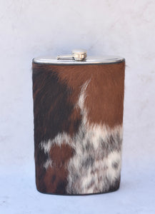 Black, Brown, and White Gallon Flask