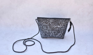Black Stamped Crossbody Purse