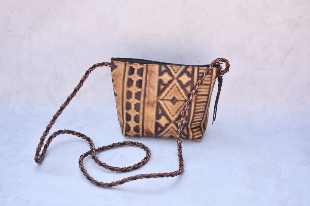 Brown Stamped Leather Crossbody Purse
