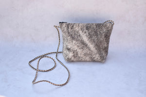Black and White Brindle Crossbody Purse