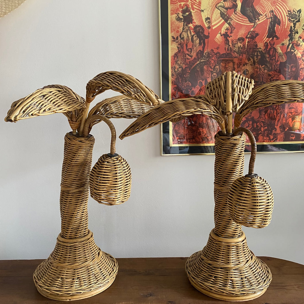 Coming soon; Rare Wicker Palm tree Lamps