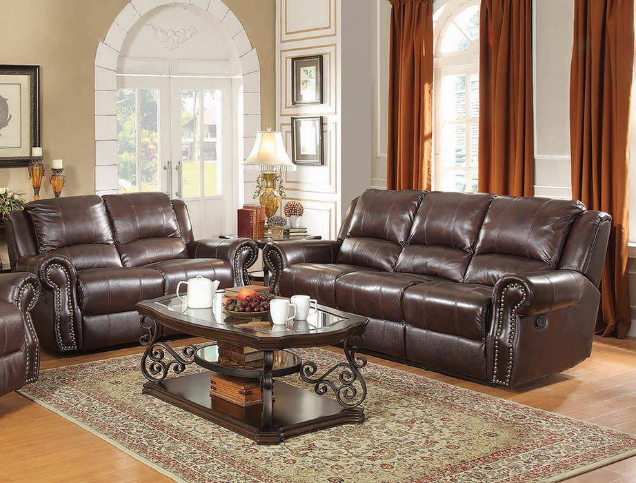 Sir Rawlinson Burgundy Brown Motion Sofa and Loveseat