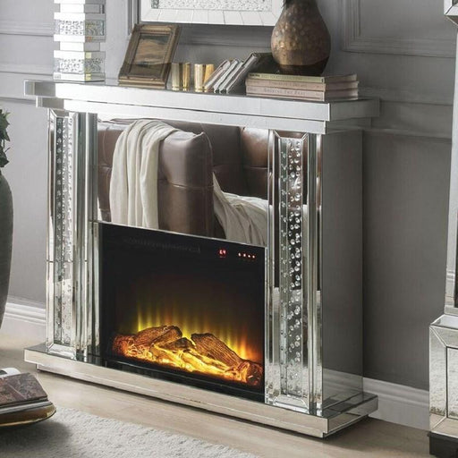 Acme Furniture Nysa Fireplace in Mirrored & Faux Crystals 90254 image