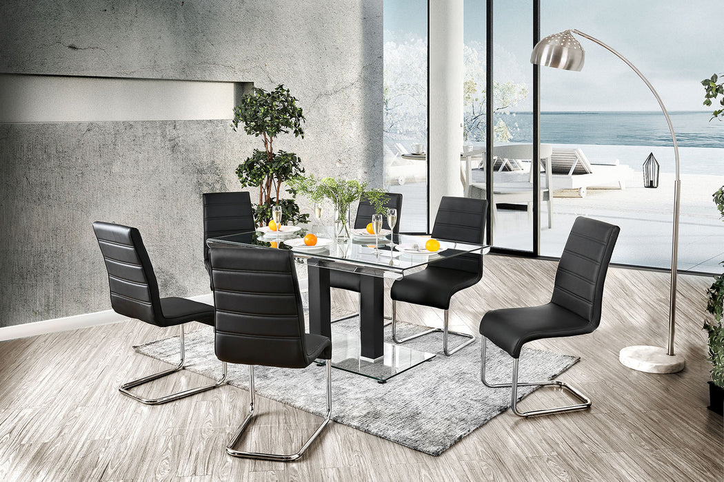 Richfield Black/Chrome 7 Pc. Dining Table Set