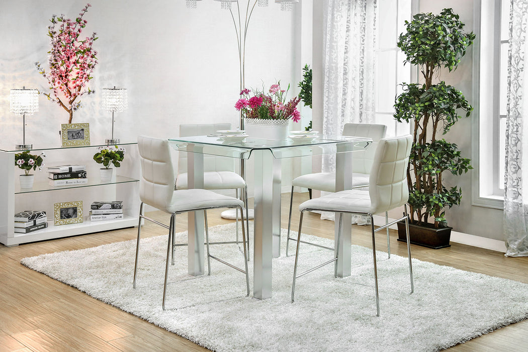 Richfield II Silver/Chrome 5 Pc. Counter Ht. Dining Table Set