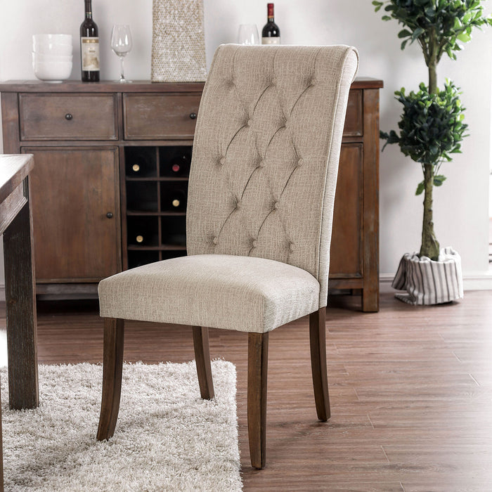 Marshall Beige/Rustic Oak Side Chair (2/CTN)