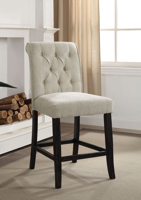 Izzy Beige/Antique Black Counter Ht. Chair, Ivory (2/CTN)