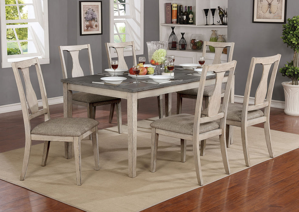 Ann Antique White/Gray 7 Pc. Dining Table Set