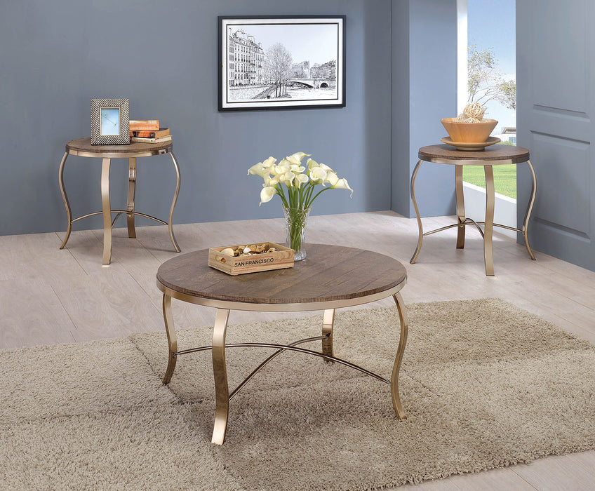 Wicklow Rustic Oak/Champagne 3 Pc. Coffee Table Set