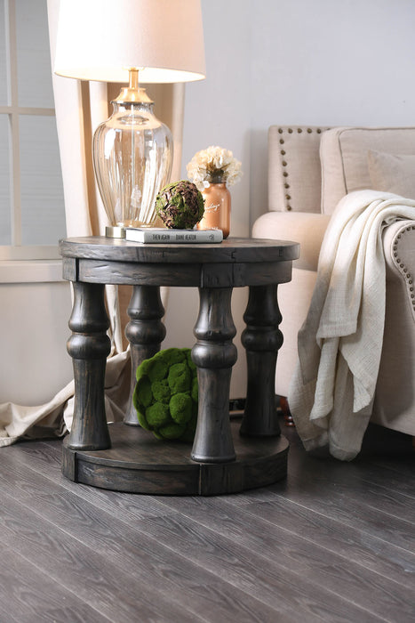 Mika Antique Gray End Table
