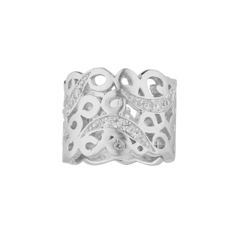 Fantastic Matte Sterling Silver Ring with Zirconia in Art Deco Design (20-727)