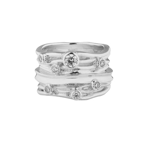 Gorgeous Sterling Silver Ring interlaced with Zirconia (20-729) by Gexist®