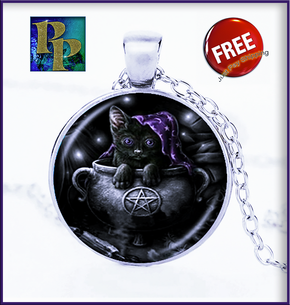 Witch's Pentagram & Black Kitten Necklace