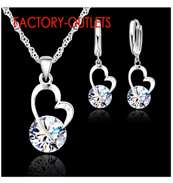 Sterling Silver Romantic Heart Shape-Round Crystal Necklace & Earrings Set