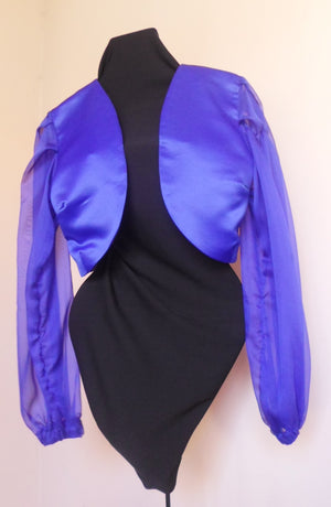 Open image in slideshow, Long Sleeve  Bolero - Blue
