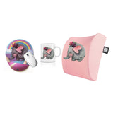 An Elephant Bee Visco Bel Yastığı Mouse pad Kupa 3'lü Set - Pembe