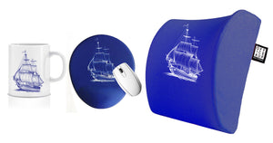 Sailing Away Visco Bel Yastığı Kupa Mouse pad 3'lü Set - Lacivert