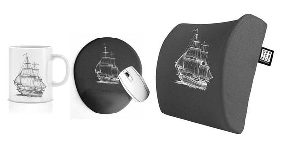 Sailing Away Visco Bel Yastığı Kupa Mouse pad 3'lü Set - Gri