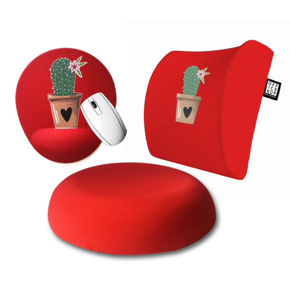 Cactus Visco Bel Yastığı Visco Oturma Minderi Mouse pad 3'lü Set