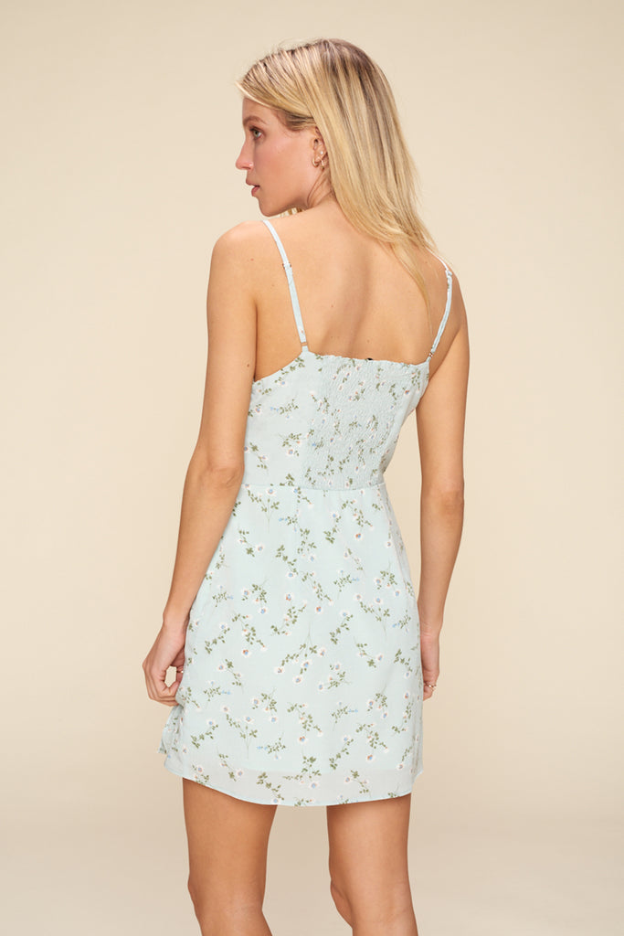 Back side of a light blue ditsy floral mini dress.